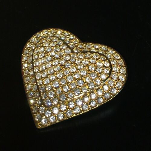 Vintage Joan Rivers Pave Gold Tone Rhinestone Hear