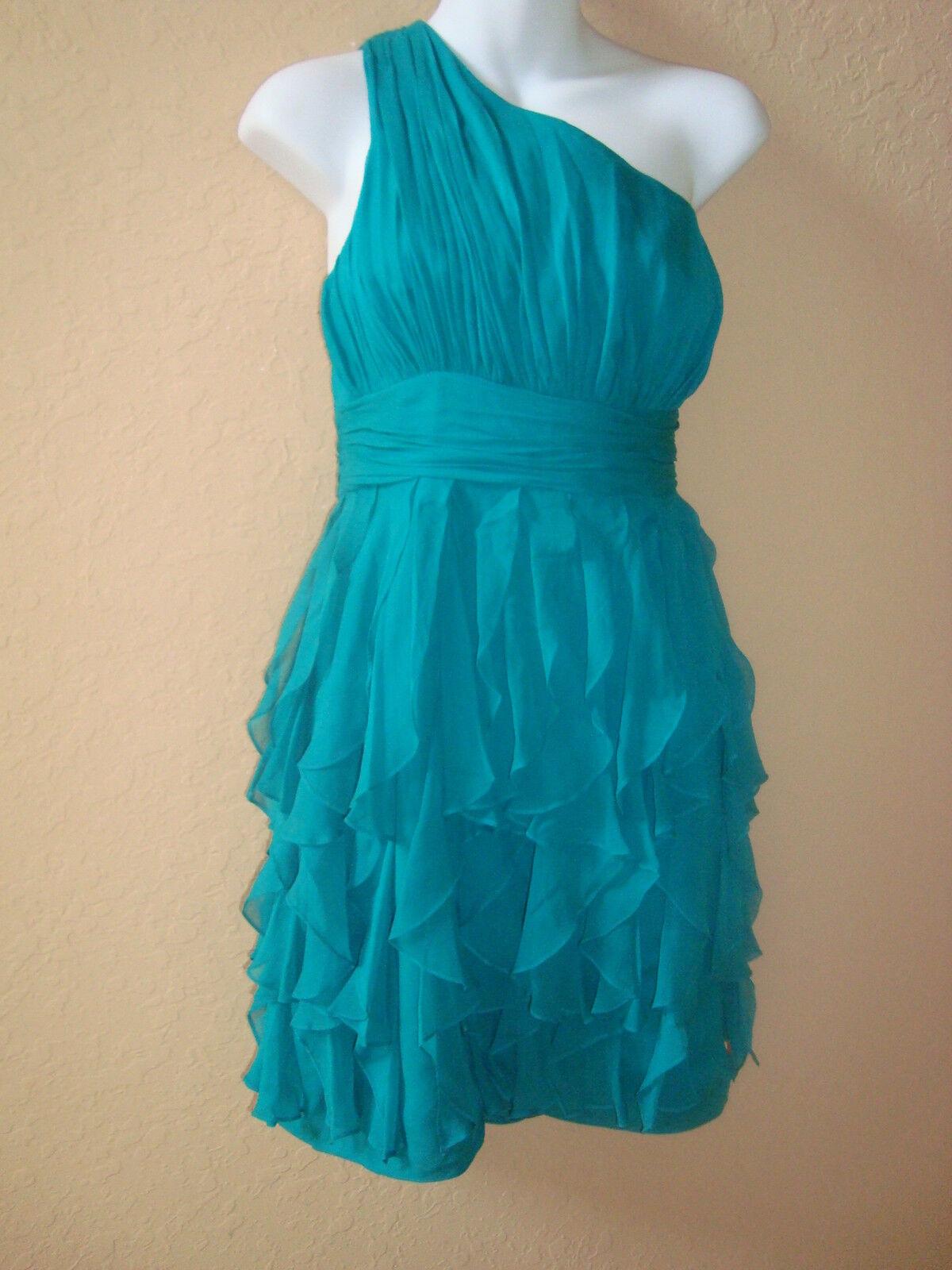 New Display Model TIBI Womens Teal Green One Shoulder Ruffle Silk Dress 6