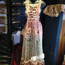 Hand Made Vintage Antique Tie Dyed Lace Maxi Apron Pinafore Dress