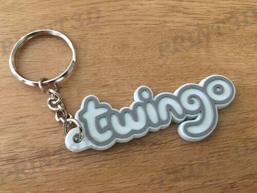 Keychain PVC souple Twingo monogramme logo coffre blanc//white Porte clés