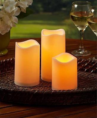 SET OF 3 INDOOR OUTDOOR FLICKERING LED MELTED TOP PILLAR CANDLES WITH TIMERS