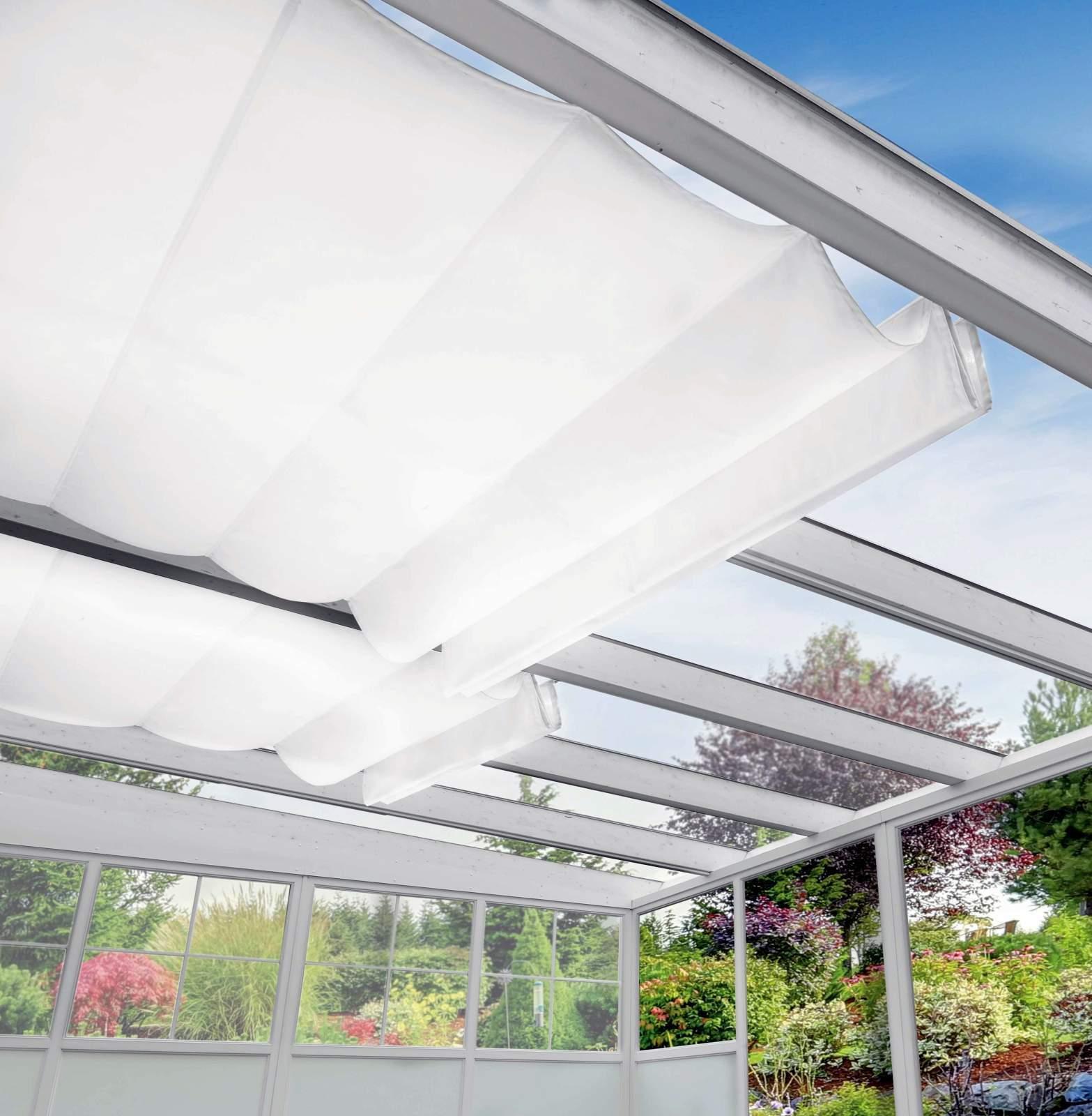 Terrassendach Alu 16 mm Stegplatten+Beschattung Sunola® Terrassenüberdachung 4 m