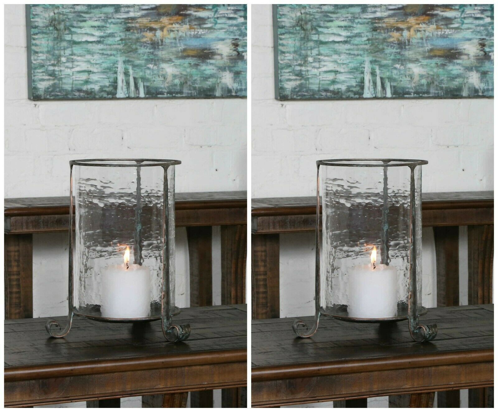 TWO SPANISH MISSION XXL 14  AGED META HAMMErot GLASS CANDLE HOLDER UTTERMOST