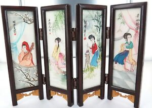 SUPERB-c1950-s-1960-s-CHINESE-EXPORT-WARE-MINIATURE-HANDPAINTED-MARBLE-SCREEN