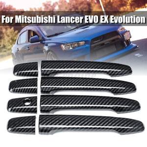8PCS Carbon Fiber Style Door Handle Cover For Mitsubishi Lancer EVO EX  v s ♡