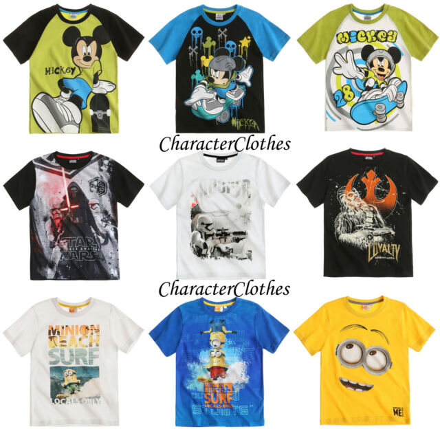 New Official Boys CHARACTER T-shirt Kids Cartoon Short Sleeve Top Age 3-12
