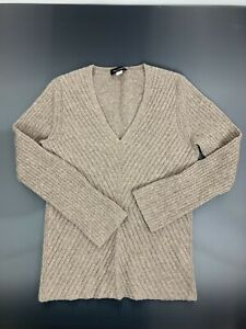Sara Campbell Cashmere V-Neck Sweater Wheat Brown Size XS 100% Cashmere