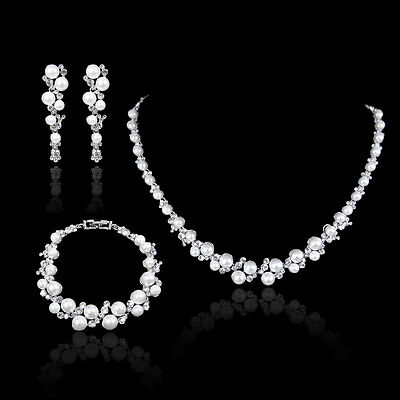 Wedding Pearl Clear Rhinestone Crystal Bracelet Necklace Earring Set -E304