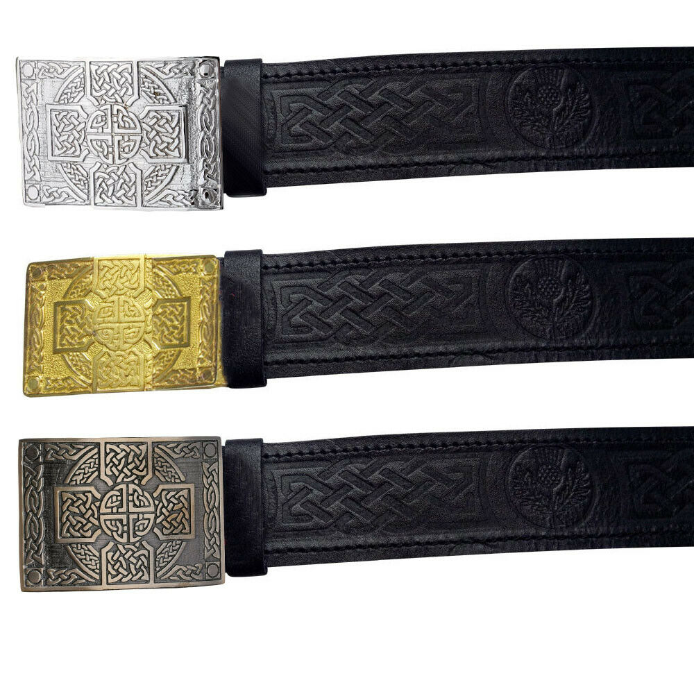 Scottish Belt Black Leather Thistle Embossed Celtic CrossKnot Belt Buckle-TC