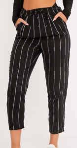 f06d4e4e8904 Image is loading PrettyLittleThings-Diya-Black-Pinstripe-Casual-Trousers -Size-6-