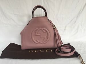 f47a2a84e4f3 Image is loading Authentic-Gucci-Pink-Leather-Small-Soho-Shoulder-Bag