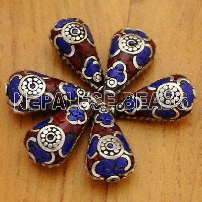UB2126 Nepalese Handmade Lapis Coral 6 Beads from Nepal by Eksha Limbu