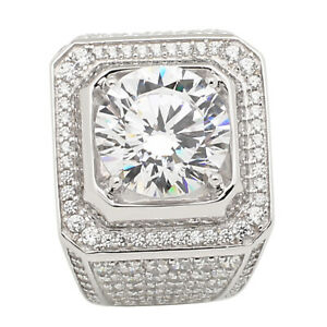 5ct Big Lab Synthetic Diamond Ring Men 925 Sterling Silver Band Wedding Stone Ebay