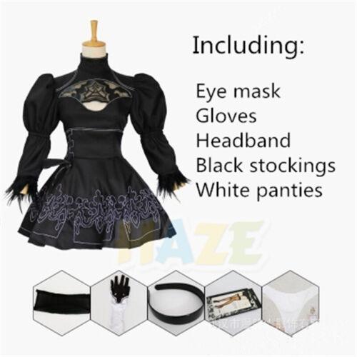 NieR:Automata 2B YoRHa No.2 Cosplay Costume Outfit Black Dress EyeMask