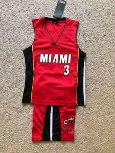 Dwyane Wade 3 Miami Heat Kids Basketball Jersey Shorts Set Red Us Seller Ebay