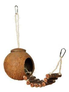 Coconut Shell Wooden Ladder Bird Toy Parrot Cage Toys Swing Pet Parakeet Bridge