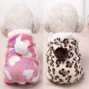 Precioso-Invierno-Mascota-Pequeno-Perro-Gato-Cachorro-Ropa-Capucha-Mono-Pijamas
