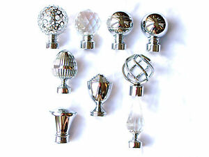 28mm Chrome Metal Curtain Pole Finials Twisted Cage Circle