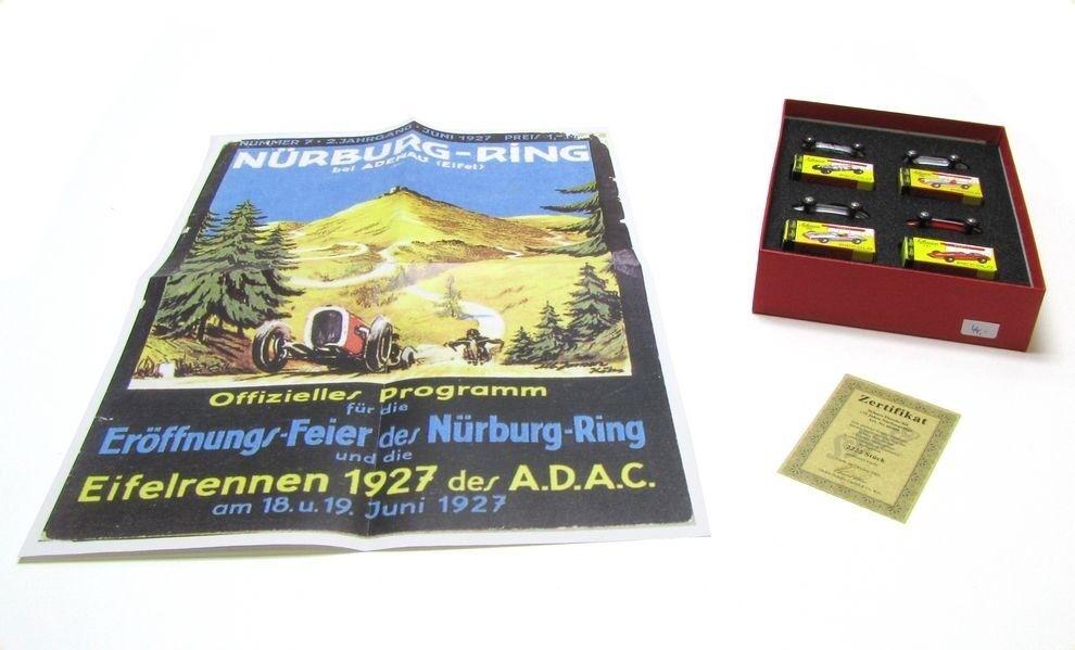 Schuco 05209 Set 75 anni NURBURGRING 4 modelli e manifesti stata limitata 1:90 - SCATOLA ORIGINALE