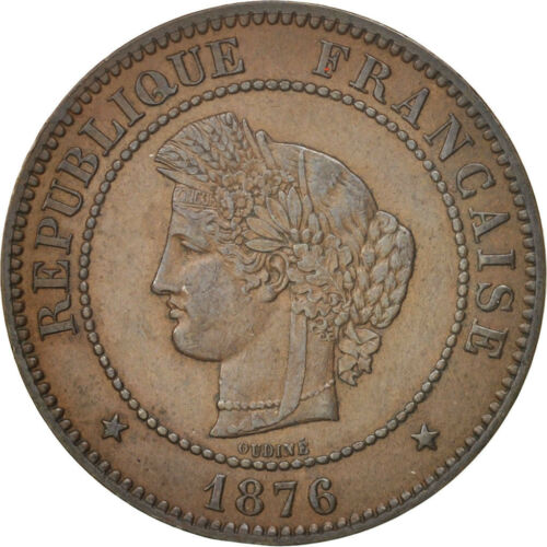 #99872 France, Cérès, 5 Centimes, 1876, Paris, AU5053, Bronze, KM821.1