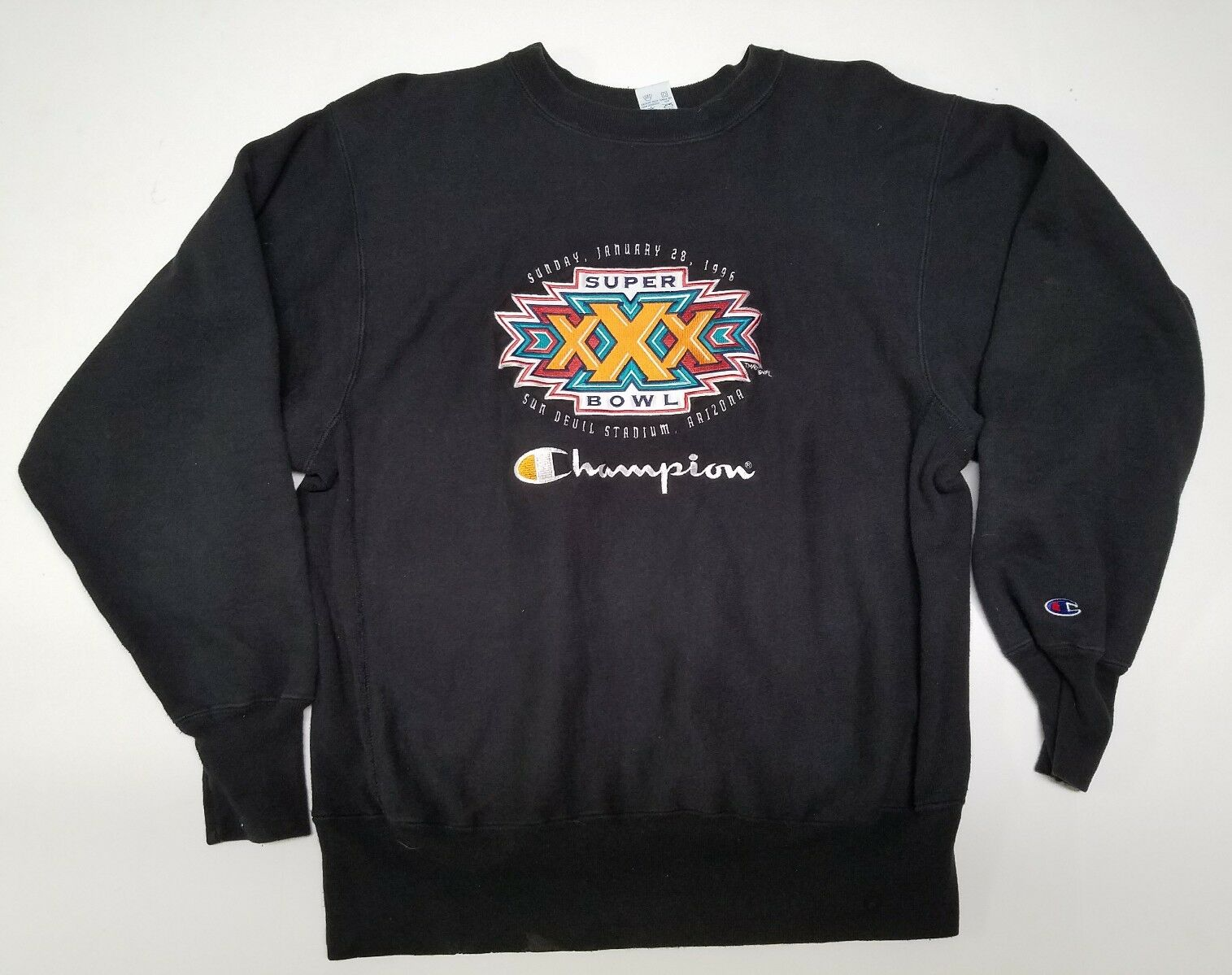 Vintage champion made in usa reverse weave sweater 1996 Super Bowl size XL