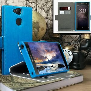 Sony-Xperia-XZ3-Precision-Fit-Cover-TuffShell-Leather-Blue-Book-Case