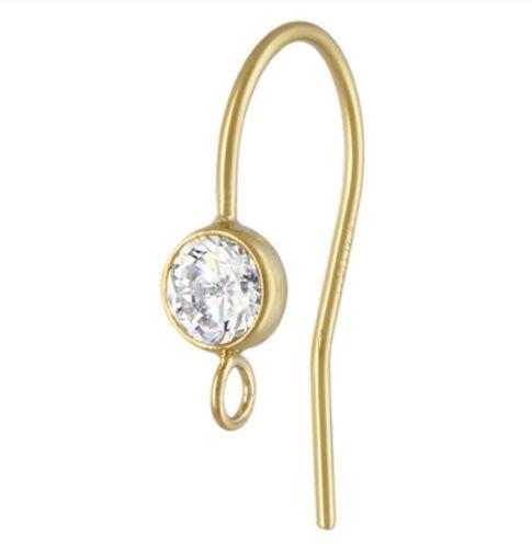 14k Gold Filled 4mm AAA CZ Bezel Ear wire  1pair  #6202-1