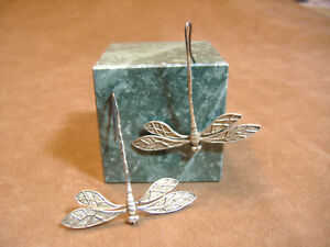 VINTAGE-HANDMADE-STERLING-SILVER-DRAGONFLY-EARRINGS-ONE-OF-A-KIND-2-034-WIDE