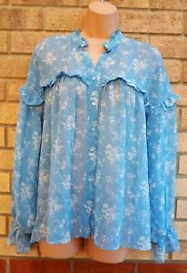 ZARA-BLUE-WHITE-FLORAL-BUTTONED-LONG-SLEEVE-OVERSIZED-SMOCK-TOP-BLOUSE-SHIRT-M-L
