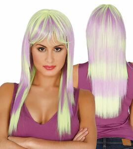 Verde-amp-Lila-Pastel-Sombreado-Largo-Peluca-de-Flecos-Sintetico-Pelo-Alta-Calidad