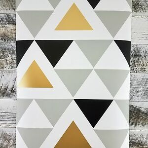 Image Is Loading Gold Gray Black And White Chic Geometric Triangle
