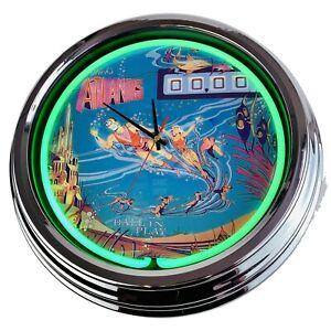"N-0500 Wall Clock "" Pinball Atlantis Gottlieb 1975 Decor Neon Kitchen Game Room"
