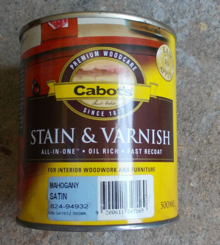 CABOTS STAIN & VARNISH INTERIOR VARNISH in 9 colours 1 LITRE CANS pick up only