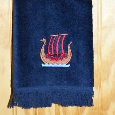 Norwegian Viking Ship Embroidered Navy Towel #FT40NAV