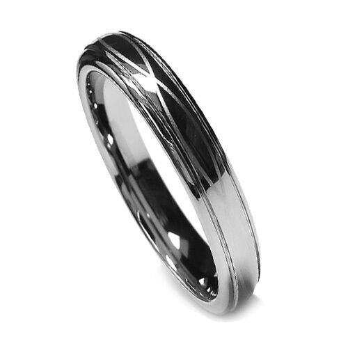 6MM Women Tungsten Ring Wedding Band Infinity Lucky Ring Chrome Color Lazor Edge