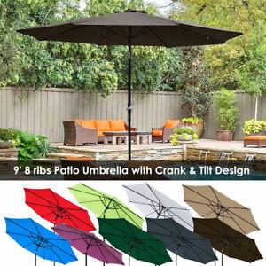 9ft-8-Ribs-Outdoor-Patio-Umbrella-Crank-Tilt-Market-Yard-Beach-Sunshade-UV-Block