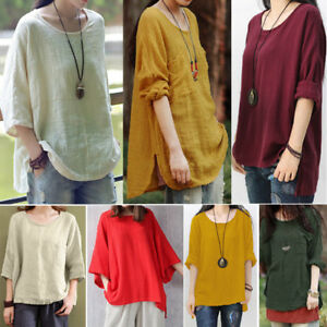 Womens-Long-Sleeve-Pullover-Shirt-Ladies-Casual-Loose-Blouse-Tops-Plus-Size-8-22