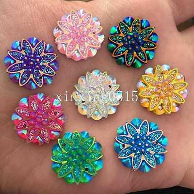 12pcs AB resin 20*30mm drop Flatback rhinestone wedding DIY 2 hole button//yellow