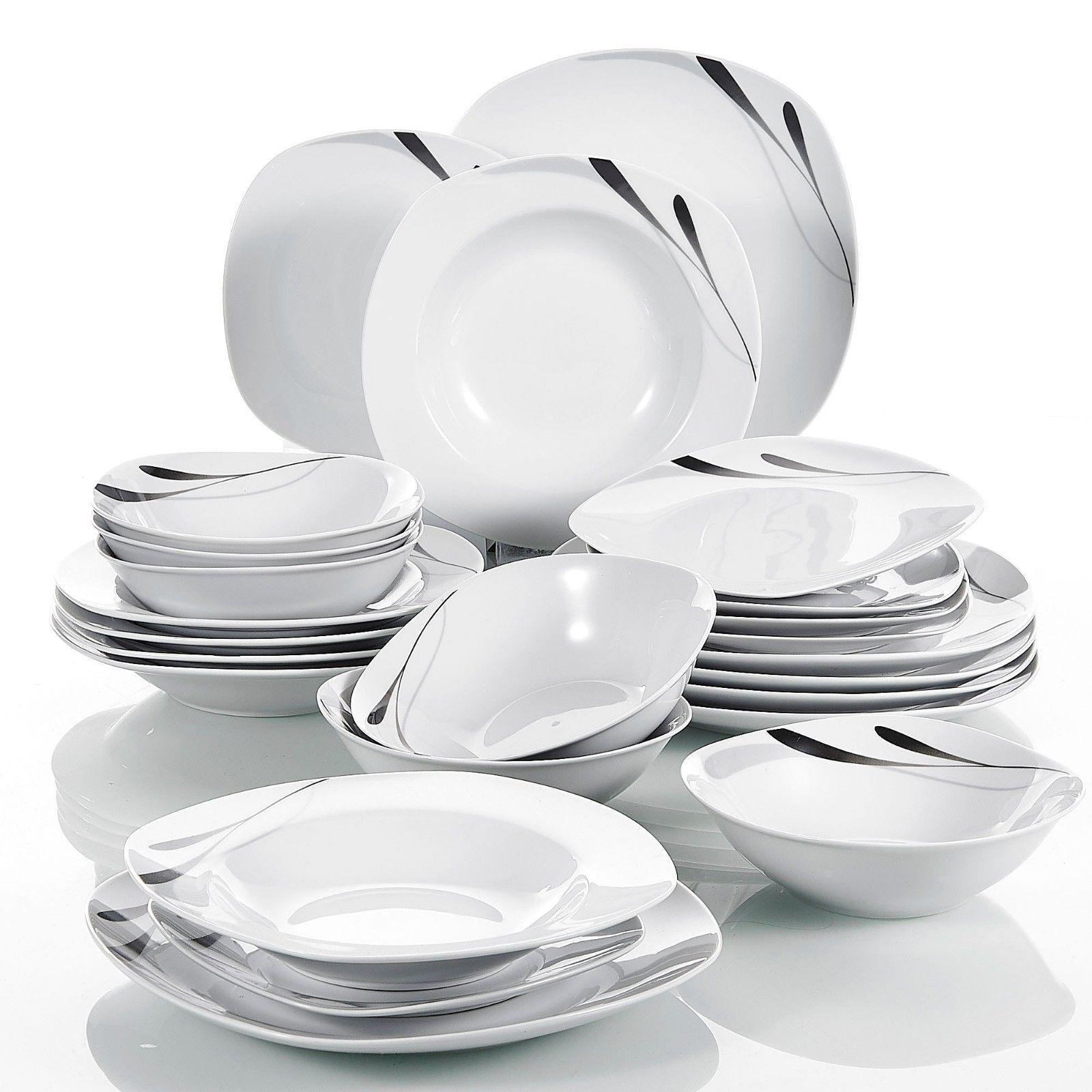 Set da cena 24Pcs stoviglie Sala da Pranzo Piastre Ciotole elegante servizio da tavola per 6 PERSONE NUOVO