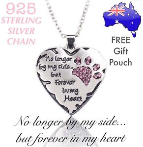 Crystal-Paw-Heart-Pet-Cat-Dog-Memorial-Pendant-925-Sterling-Chain-Necklace-Gift