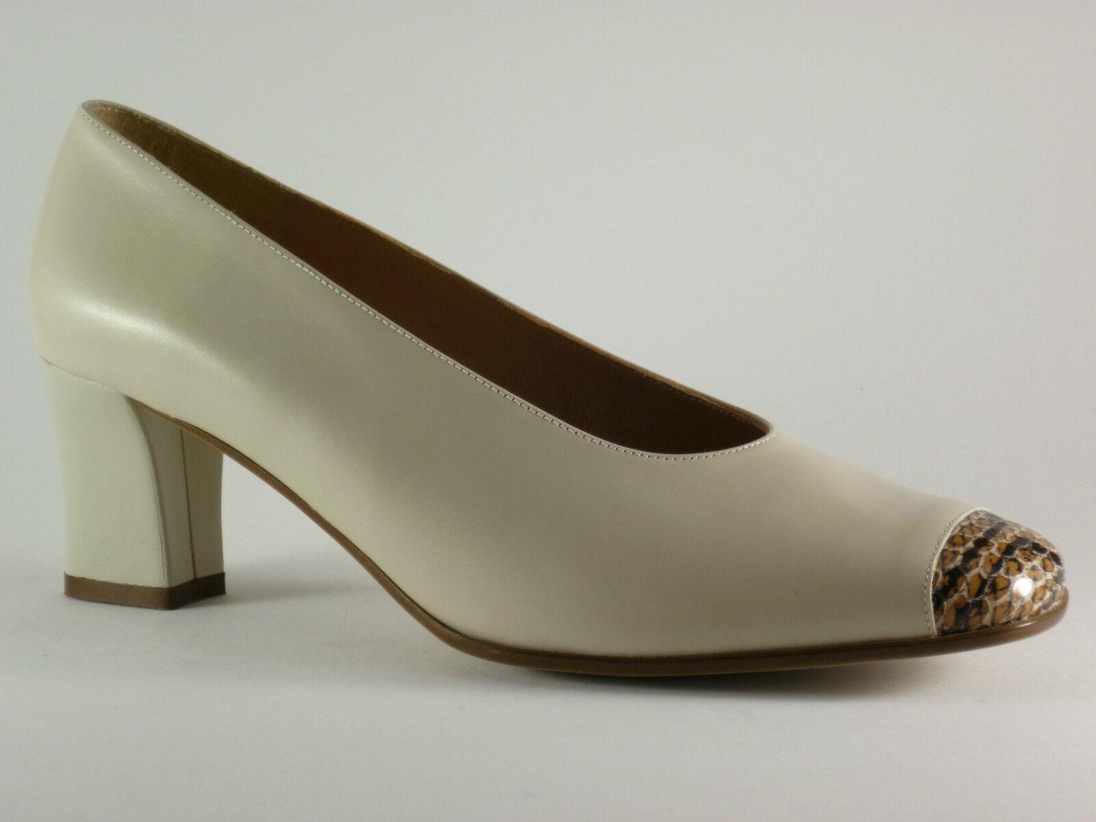 SONATE Damen Schuhe 39 39,5 40 40,5 41 Leder Beige   Reptile Pumps NEU
