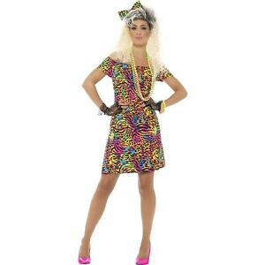 ac73379364 80 s Party Animal Print Neon Rave Eighties Womens Ladies Fancy Dress ...