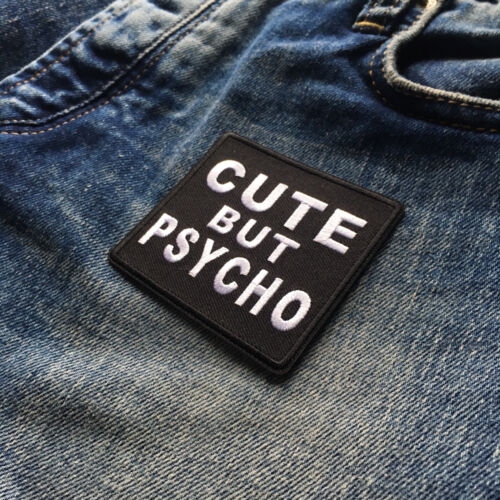 "Embroidered 3/"" Cute But Psycho Sew or Iron on Patch Biker Patch"