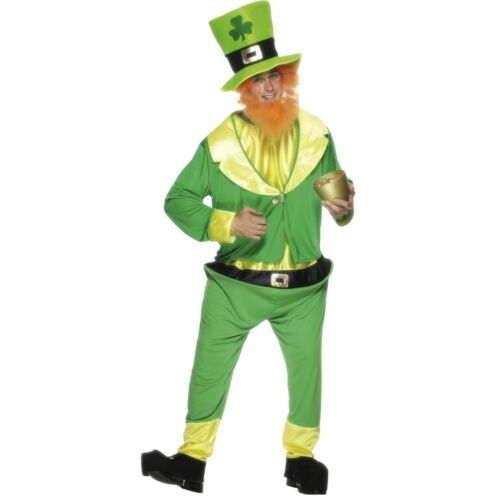 Grren Lucky Irish Leprechaun Jumpsuit St Patricks Mens Fancy Dress Costume