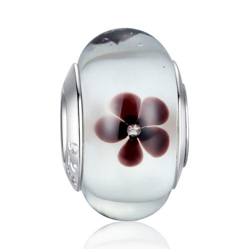 Perle Charm pour Bracelet maille serpent-Verre BLANCHE FLEUR BRUNE Argent 925