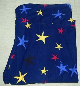 2ef21e2d440508 NWT NEW LuLaRoe TC STARS RED YELLOW BLUE BLACK ON DARK BLUE Leggings ...