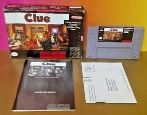 CLUE-Parker-Brothers-Classic-SNES-Super-Nintendo-AUTHENTIC-Tested-Game-Complete