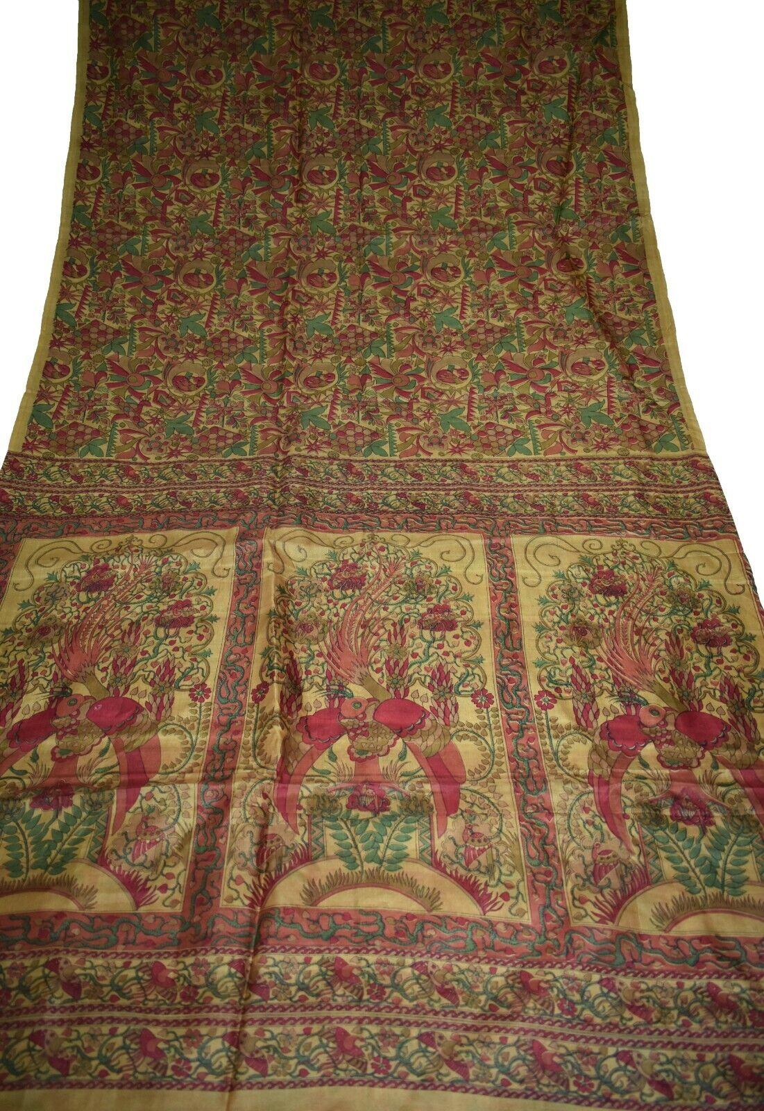 Vintage Printed Saree Brown Pure Silk Floral Print Sari Design Craft PR-6670