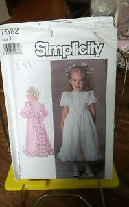 Vtg-Simplicity-7982-girls-party-formal-dress-inset-back-ruffle-detail-sz-3-UNCUT