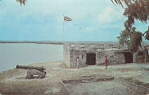 Old-Chrome-Postcard-GA-J372-Fort-Frederica-St-Simons-Island-British-Oglethorpe